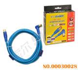 Le fil bleu transparent 1.8m Connecteur plaqué or en ligne droite à angle droit de la télévision avec câble AV (AV double boucle-TV03-1.8M-Gold-Blue-double boucle)