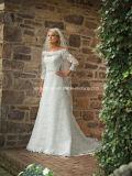 3/4 di vestito da cerimonia nuziale nuziale dei manicotti del merletto bianco lungo di Alençon A78