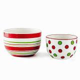 Polka Dot и полоса вручную керамическими Рождественские блюда для варки, комплект из 2 (GW1282)