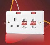 Interruptor 45A eléctrico con indicador de la lámpara y 13A de tubo con neón para la cocina