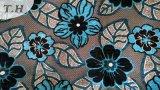 파란 꽃 인쇄된 셔닐 실 실내 장식품 직물 (fth31890)