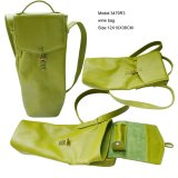 Vintage Green Faux Leather Gift Wine Tote Bag (3479R10)