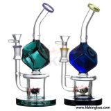 Conduite d'eau en verre de fumage de mini de becher de double recycleur en verre de baril