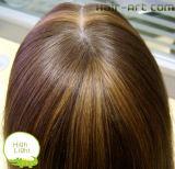 Pelo humano del 100%/peluca delantera del pelo del cordón con punto culminante