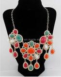 La primavera de Bisutería rojo resina verde Collar con aleación de zinc Plateado cadenas ajustable de regalo de aniversario Regalo de Cumpleaños (PN-140)