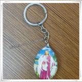 새로운 최신 판매 형식 심혼 유리제 메달 종교적인 열쇠 고리 (IO ck084)