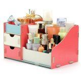 Caixa de armazenamento de cosméticos de madeira criativa de moda DIY