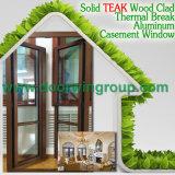 Ventana de aluminio del nuevo diseño con el revestimiento sólido del roble/de la teca/de madera del alerce/de pino, ventana redonda de aluminio del color de madera