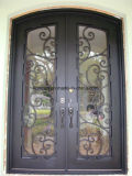 Шикарная дверь входа ковки чугуна конструкции с действующим стеклом