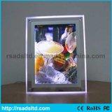 水晶アクリルのライトボックスの表示を広告する細いLED