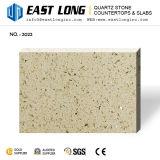 Commerce de gros grains poli artificielle de couleur beige quartz pour les comptoirs de pierre