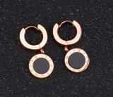 Черный кнопки Односторонняя римские цифры простые круг серьги титана стали закрывается золотого цвета леди женщин Хооп серьги