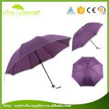 21nch x 8Kマニュアルの女性のための開いた青3のフォールドの傘