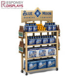POS Grocery Blind Fixture Wooden Shelves Rack Logo Fruit and Vegetable Display Stand