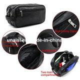 Черный кожаный Unisex пакет мешка для набора состава Toiletries косметик