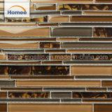 Cheap OEM cocina brillante Backsplash mosaico de vidrio marrón