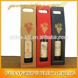 Kraft acanaló el rectángulo de empaquetado del regalo del vidrio de vino para la botella 2