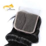 Usine jetant directement la fermeture brésilienne libre de lacet de cheveu de Vierge