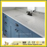 Сегменте панельного домостроения Iced белый кварцевый камень ламинат рабочую поверхность для кухни и ванной комнатой/Кабинет/острова/отель (Quartz/гранитом и мрамором/доски)