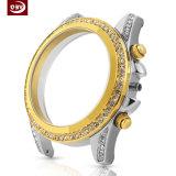 High-End Horloge van de Dames van de Riem van het Leer van het Geval van de Diamant 316L het Mechanische