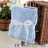 Cobertores Handmade do bebê do algodão do Crochet do jacquard da cor contínua