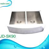 Jd-Sk90 Dubbele Kom van de Gootsteen van de Keuken van het Roestvrij staal van de gematigde Prijs de Rechthoekige