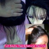Человеческие волосы парика шнурка, парики с челками, курчавые волосы фронта шнурка человеческих волос младенца париков фронта шнурка