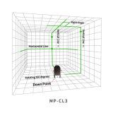El verde 3 del tacto alinea el nivel rotatorio del laser de 360 grados