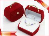 Caja de embalaje del regalo de la joyería del pendiente del terciopelo del rectángulo del pendiente del corazón