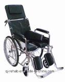 La thérapie de réhabilitation économique pliable en fauteuil roulant manuel léger avec chrome frame avec chaise percée