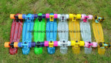 22 بوصة لوح التزلج شفّافة بلاستيكيّة مع أربعة عجلات سمكة لوح