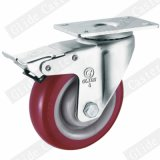 Rodízio industrial da roda vermelha do poliuretano com rolamento de esferas da precisão dobro