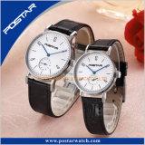本革ストラップが付いている標準的なシリーズカップルの水晶腕時計