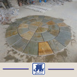 Aard die het Gele Roestige Zwarte Medaillon van de Tegel van de Lei van het Mozaïek van het Dakwerk van de Cultuur voor de Decoratie van de Tuin vloeren