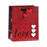 Bolsas de papel románticas del regalo de los cosméticos del corazón rojo del beso del día de tarjeta del día de San Valentín