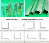 Profil en aluminium de la Thaïlande pour la porte coulissante de tissu pour rideaux de guichet