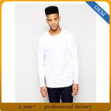 T-shirt de blanc de plaine de chemise du coton des hommes en gros long