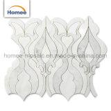 Горячая продажа Waterjet белый и серый мрамор мозаика плитка для монтажа на стену