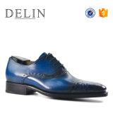 Moda de alta calidad para hombres transpirable zapatos de cuero azul