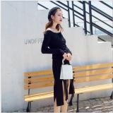 Nuovo disegno all'ingrosso due parti superiori lunghe del maglione del Knit dei manicotti delle parti con il vestito dalle donne dei pannelli esterni di scarsità
