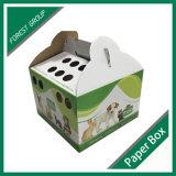 Diseño personalizado de papel corrugado gato portador de verificación con asa