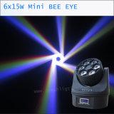 6X15W B 눈 4in1 LED 단계 빛 꿀벌 눈 이동하는 헤드