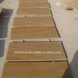 自然な木の黄色い砂岩タイルか平板または壁のタイルまたは敷石のタイル