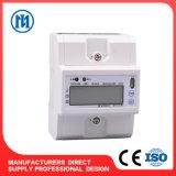 Напечатайте счетчика энергии на машинке цифров приложения рельса DIN ваттчаса одиночной фазы