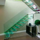 Moderner Entwurfs-gerades Glastreppenhaus mit Edelstahl für Innenraum
