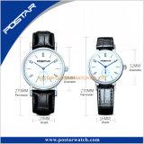 Het klassieke Horloge van het Kwarts van het Paar van de Reeks met de Echte Riem van het Leer