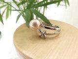 Chino anillo rosado del flor de la perla del tono de plata cobarde al por mayor de la fábrica