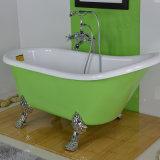 Klassische acrylsauerbadewanne mit Füßen und grüne Farben-Mosaik, amerikanische Standardbadewanne, Bad-Dusche-Kombination (BG-7006L)