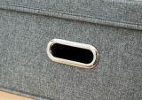 손잡이를 가진 리넨 직물 저장 상자 또는 궤 또는 케이스 잡화 저장 상자