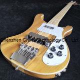 Cou Thru corps translucide noyer naturel guitare basse électrique vintage